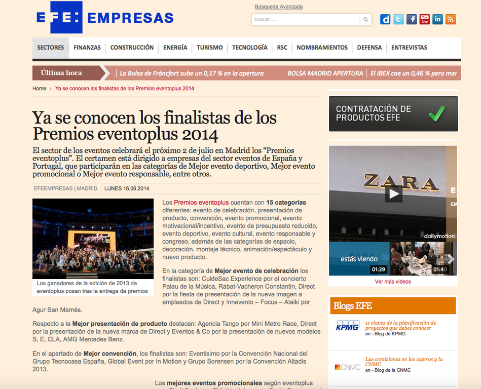 FINALISTAS PREMIOS EVENTO PLUS 2014